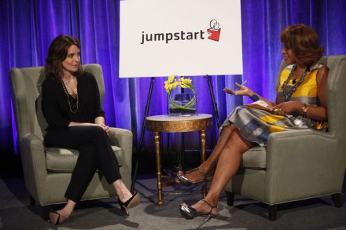 Gayle King interviewing Tina Fey at Jumpstart's Scribbles to Novels gala in New York in 2012.